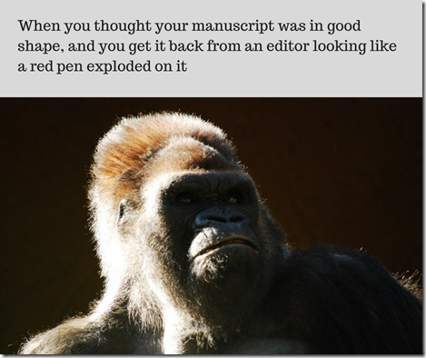 gorilla angry at redlined manuscript